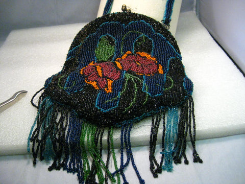 Antique Floral Beaded Purse with Hinged Opening, Beaded Strap, Satin Lining