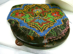 Antique Beaded Purse with Tortoiseshell Hinged Opening - Repair/Repurpose