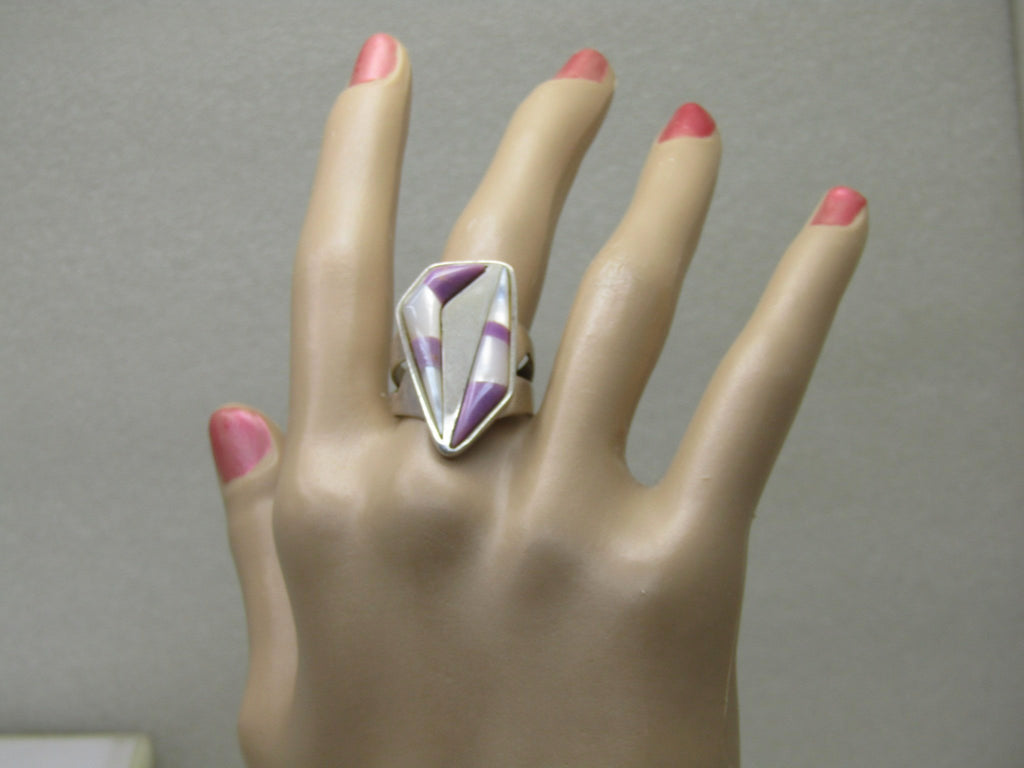 Sterling Jay King Lavender & MOP Ring,  Size 10, 10.28 gr., Southwestern Modern, Jay Kenneth Lane