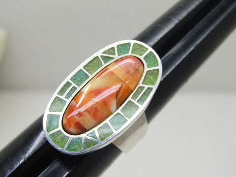 Carolyn Pollack Relios Spiny Oyster Ring, Inlaid Turquoise, Size 9.25, Oval, Mosaic, 1.25""