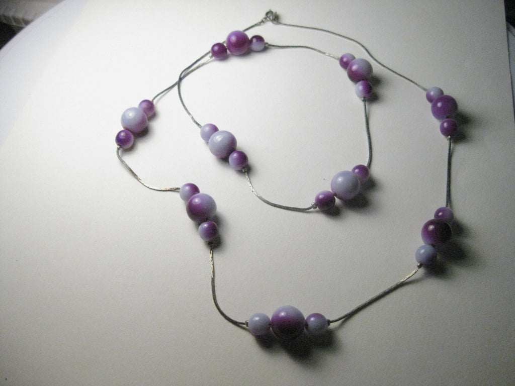"Vintage Shades of Purple Beaded 28"" Silvertone Necklace"