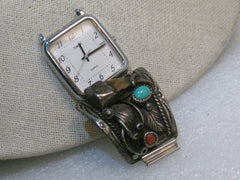 Vintage Sterling Silver Turquoise, Coral, Claw Single Watch Tip with Watch, Atkinson Trading Company
