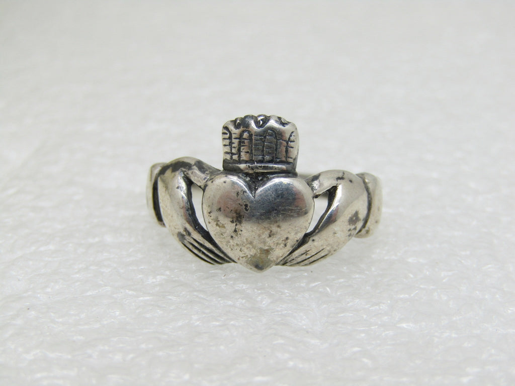 Vintage Sterling Silver Claddagh Ring, Size 8, 3.69 Gr., 13mm wide, Signed CR