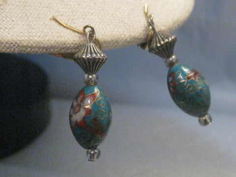"Vintage Teal Cloisonne Pierced Earrings, Dangle, 2"", 1980's"