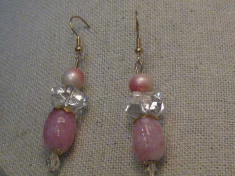 Vintage Pink Dangle Pierced Earrings, Faux Pearl & Art Glass, 2.5""