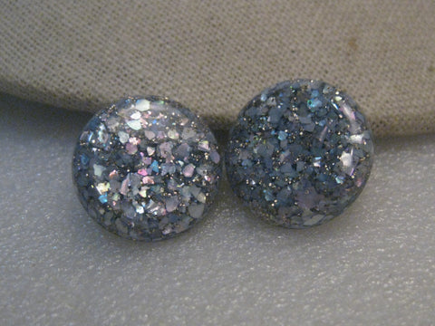 Vintage Blue Confetti Clip Earrings, 1950's-1960's, 7/8""