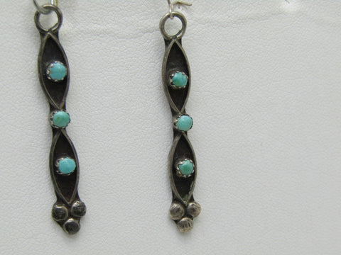 Vintage Sterling Southwestern Turquoise Earrings, Pierced, Dangle, Snake-Eye, Zuni, 2.25""