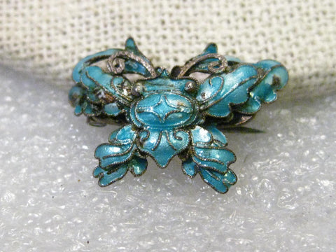 Early 1900's Enameled Crab Brooch, Light Teal, Fancy Crab, Mandarin/Chinese Design, 1""