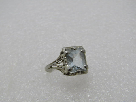 14kt Art Deco Aquamarine Ring, Filigree Engagement, 2.5ctw, sz. 6.75, Signed H.