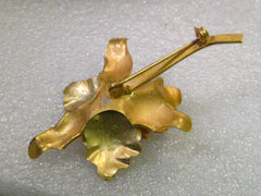 "Vintage 18kt Tri-Colored Gold Orchid Brooch with 7 mm Pearl Accent, 3.25"" tall, 11.19 grams, signed MRN 18K"