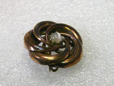 "Victorian 1800's 10kt. G.F. Love Knot Spiral Brooch with Moonstone Cabochon Center, 1"", Rose Gold  Hue"