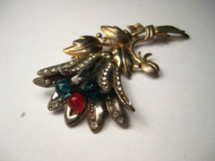 "Vintage Art Deco Floral Brooch, Gold and Silver Tone, Pave Set Rhinestones, Glass Bead Center Stems - Tulip-Like, 3.5"" tall"