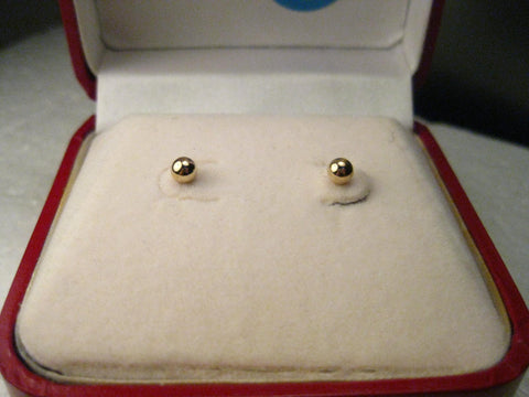 14kt Gold Ball Pierced Earrings, 4mm, .18 grams - new in quality red hinged velvet lined gift box