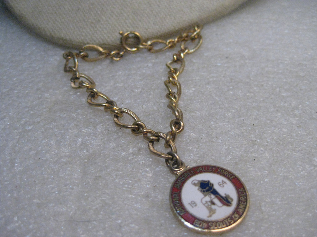 10kt GF 1964 Boy Scout Charm Bracelet, National Jamboree Valley Forge, Enameled 7.5""