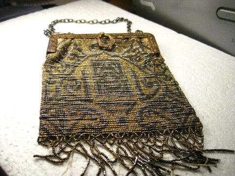 Victorian Metal Beaded Hinged Purse with stamped hinged & chain handle
