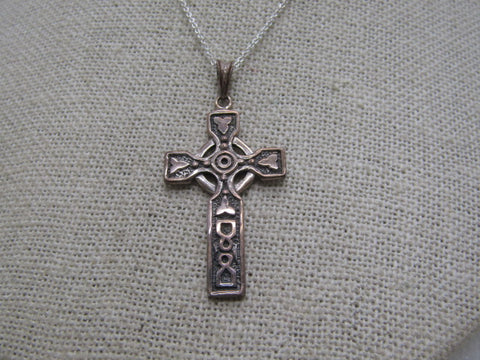"Vintage Sterling Silver Celtic Cross Necklace, 16"" 4.55 gr., 1-5/8"""