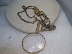 "Vintage Magnifying Glass Bolo Necklace, 30"", Bent link 3.5"", 1960's-1970's"