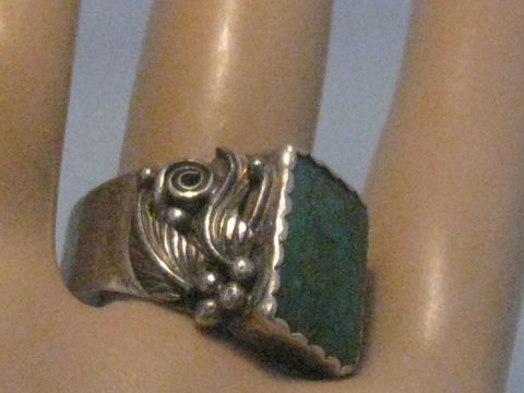 Men's Southwestern Sterling Turquoise Ring, Vintage, Sz. 10, Wide, 8.72 grams, 1960's-1970's