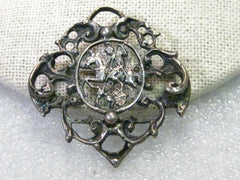 "Vintage Late 1900's, Viking/Warrior on Horse Slaying a Dragon Brooch, 830 Silver, signed H, 1.5"" Old World"