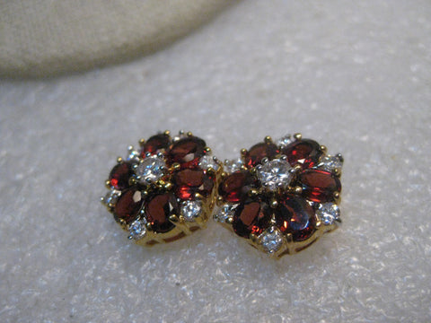 "Garnet & CZ Stud Pierced Earrings, 14kt G.P., New-in-Box, 5/8"" Blossom"
