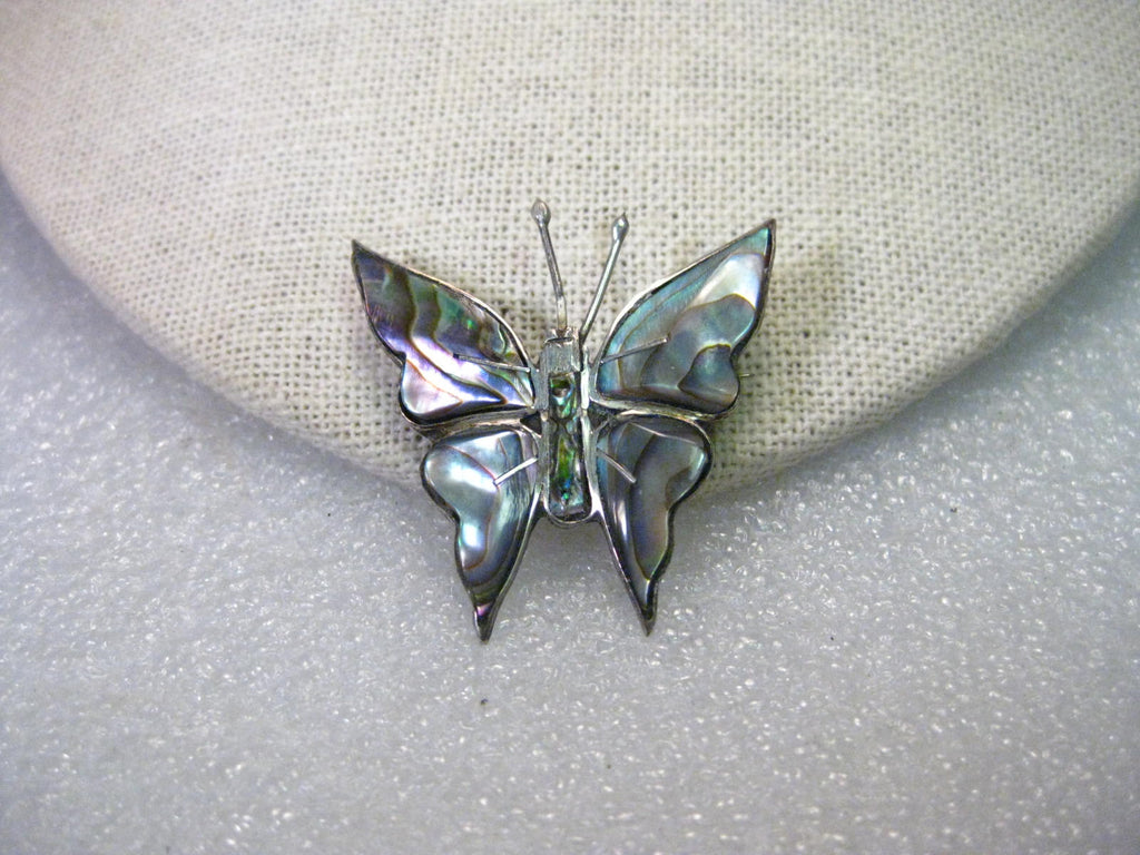Vintage Sterling Silver  Abalone Butterfly Brooch, Mid-Century, Mexico, 4.40 grams, 1.5""