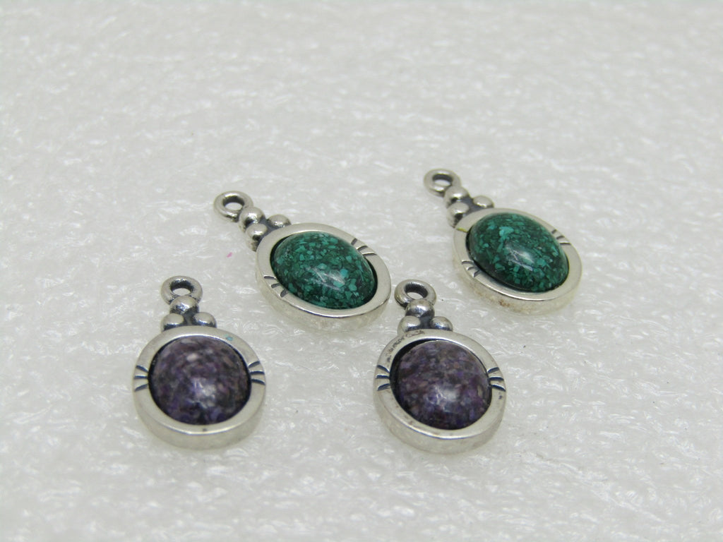 4 Sterling Carolyn Pollack Relios Pendants/Earring, Charoite & Malachite Chips, 3/4""