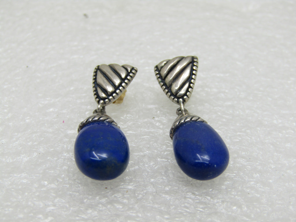 "Carolyn Pollack Relios Lapis Lazuli Earrings, Pierced, Stud & Dangle, 1.25"", 6.33 gr."