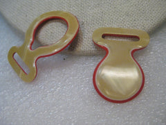 Vintage 1940's Red & Mother-of-Pearl Celluloid/Bakelite? Buckle Set