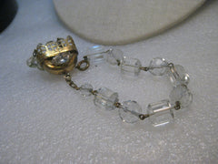 Vintage Art Deco Crystal Beaded Bracelet, 1920-1930's, Chandelier Dangle, Germany, Faceted, 7.5""