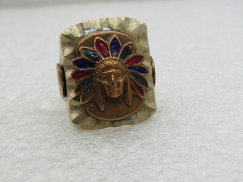 Vintage Mexican Enameled Indian Chief Ring, Men's,  Sz. 12, 1940's-1950's