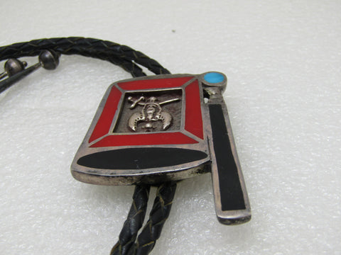 "Vintage Sterling Silver Shriner Bolo Tie, Inlaid, Masonic 38"", Unique"