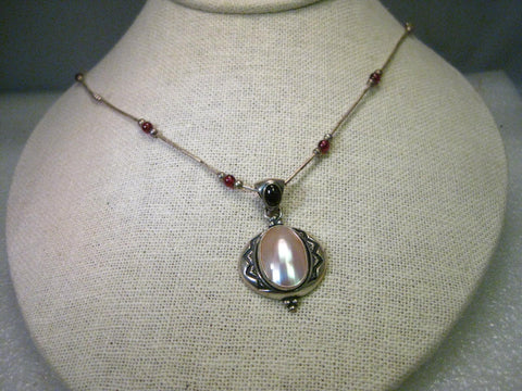 "Vintage Retired Carolyn Pollack 15.5"" Necklace with Mother of Pearl & Amethyst/Garnet Accent Beads"