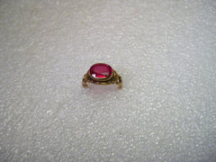 14kt Gold Ruby Ring, Oval 1.25ctw, Early 1900's, sz. 3.  2.00  grams, signed