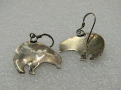 Vintage Sterling Robert Becenti Bear Earrings, Pierced
