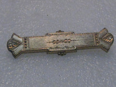 "Victorian Gold Filled Bar Brooch, Stamped/Etched, 2.25"" long, Estate"