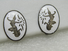 Vintage Sterling White Siam Earrings, Screw Back, 7.45 Gr. Oval, Mid-Century
