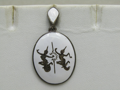 "Vintage Sterling White Siam Pendant, 1.75"", 6.80gr, Mid-Century"