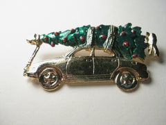 Vintage Brooch, Christmas - Bringing home the tree - enamel, gold tone