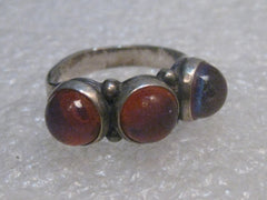 Vintage Sterling Silver Dragon's Breath Ring, size 5, Triple Stone, 4.37 gr. Boho/Hippie Appeal