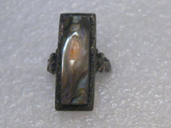 Vintage Abalone Blister Pearl Ring, size 3.5, Sterling Silver, early 1900's, 3.39 gr.