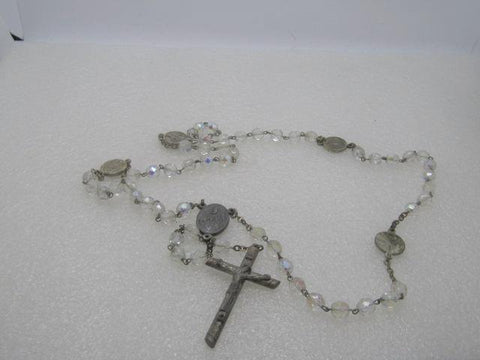 "Vintage Italian Crystal Rosary, Aurora Borealis, 23.5"", Orbis Unus Orans - Those Who Pray"