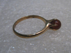 10kt Gold Carnelian? Beaded Ring, size 5, signed OOO, 1.68 gr, 1950-1960's