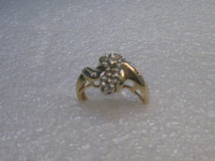 Vintage 14kt Solid Two Tone Gold Diamond Cluster Ring, Size 7.5, 4.59 Gr. 25 diamonds