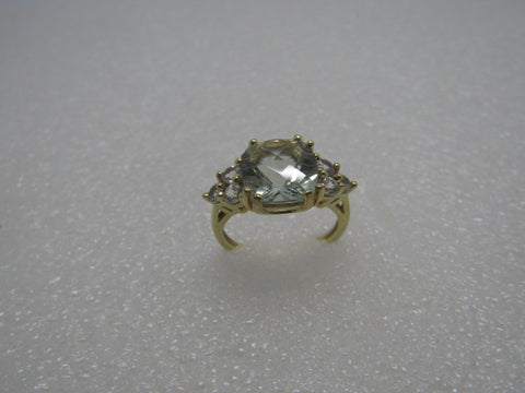 10kt Prasiolite Clear Topaz Ring, Green Amethyst, Size  7.5, 3.25 ctw, Signed EMA, Cushion Cut