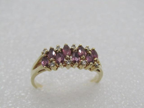 14kt Marquise Ruby Diamond Ring, Size 9, 3.18 gr, .50 tcw, Signed DRA