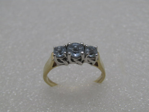 10kt Aquamarine Triple Stone Ring, Engagement, Past, Present, Future, Size 9, Two-Tone
