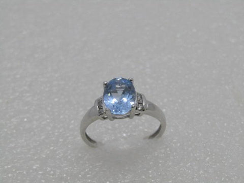 10kt Lab Aquamarine Ring, with Clear Stones, Size 7.25, 1.33 ctw, 2.50 gr., White Gold