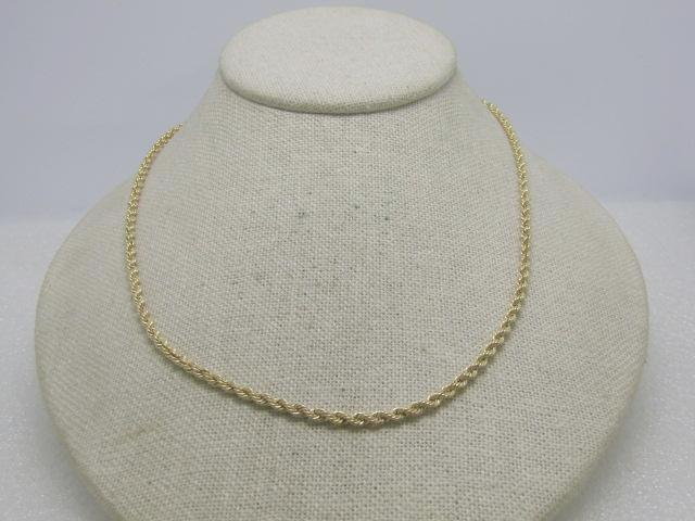"10kt Gold Rope Chain Necklace, 18"", 3mm, 3.62 grams"