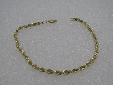"10kt Gold Rope Chain Bracelet, 7.5"", 3mm, 1.56 grams"