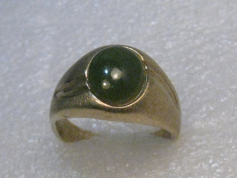 Vintage 1960's Men's Synthetic Jade Ring, 14kt Gold Filled, Size 13, signed H with Arrow
